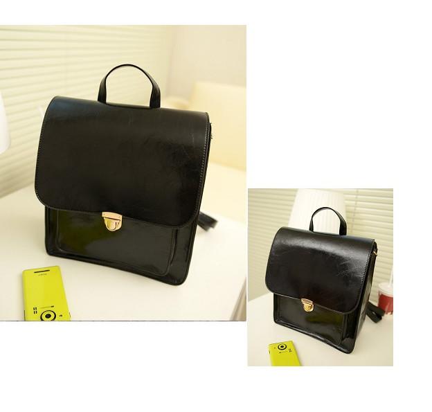 Neu-Rot-schwarz-Ledertasche-Damen-Rucksack-Schultasche-Schultertasche-Shopper