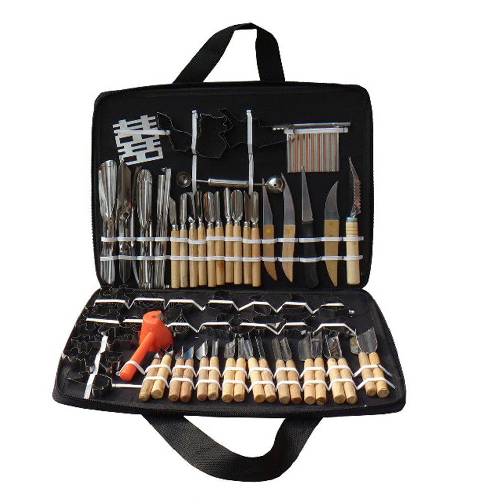 ... 80pcs in One Vegetable Fruit Carving Tools Set + Wood Box For Beginner