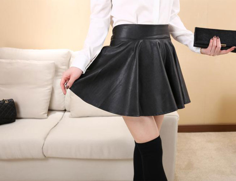 Sexy New Womens Black Red Faux Leather Mini Skirt High Waist Pleated Skater