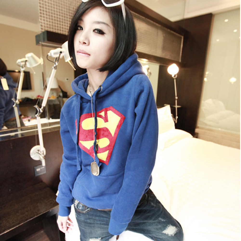 Fashion Women Superman Logo Casual Hoodie Sweatshirt Lady Coat Tops Blue XL