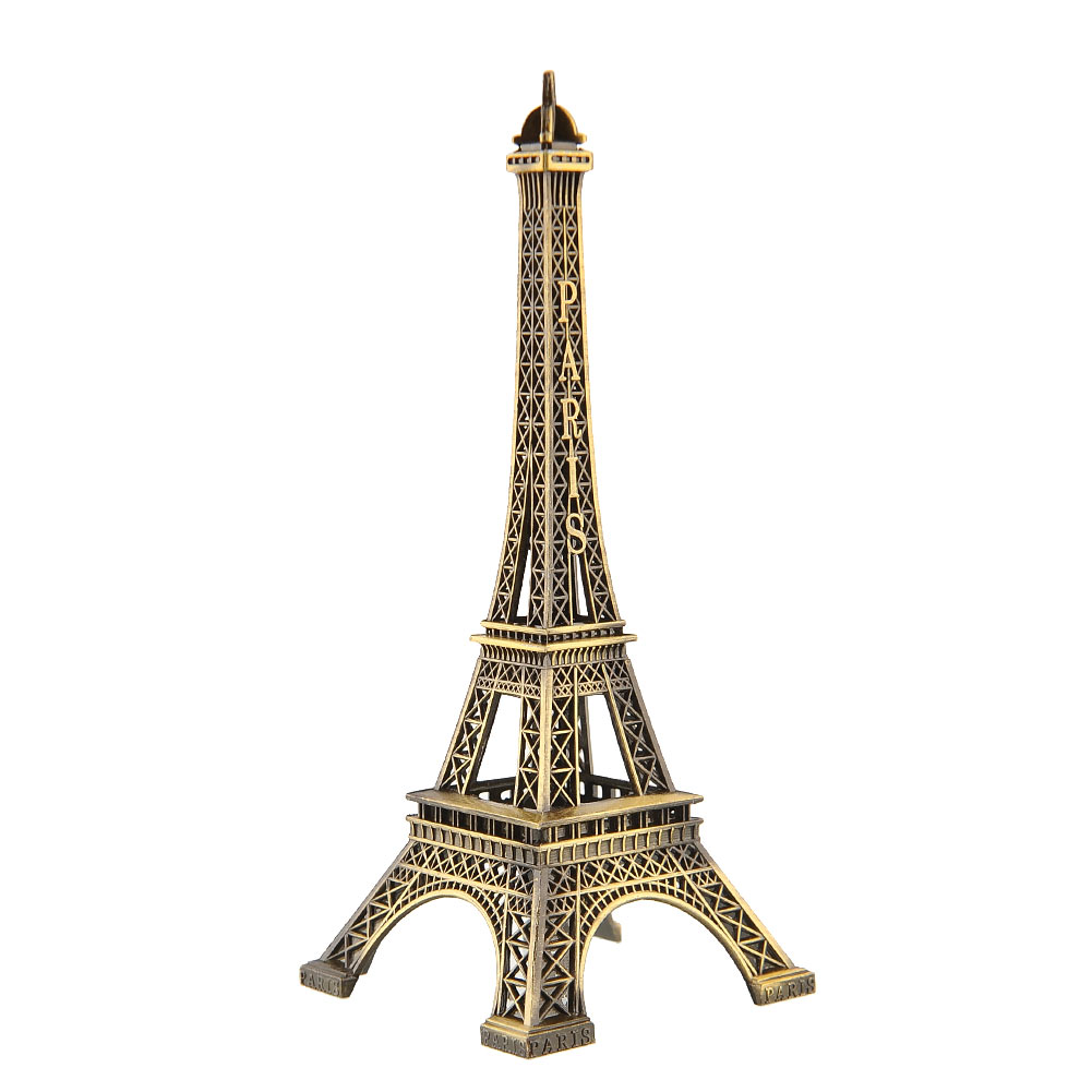 Bronze Tone Paris Eiffel Tower Figurine Sculpture Vintage