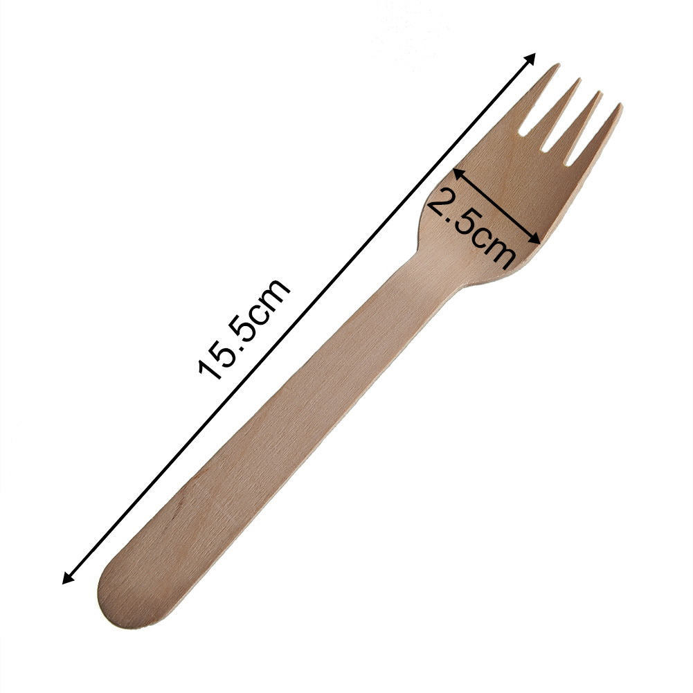 Practical-200pcs-Eco-friendly-Disposable-Wood-Wooden-Forks-Scoops-Dessert