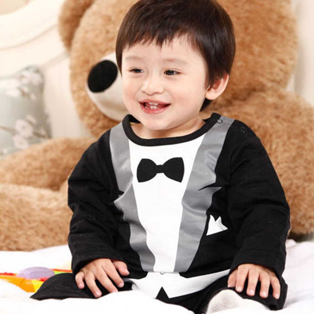 Baby Suit Boy Kid Party Romper Bowtie Casual Long Sleeve Jumpsuit Lovely Pants