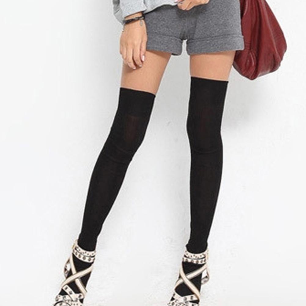 Girl Long Socks Thigh High Cotton Stockings Thinner Over Knee Black Grey