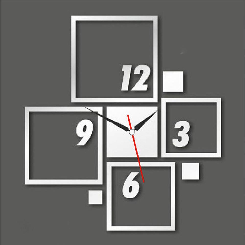 Wall Art Decals Clock : Diy d square acrylic mirror glass wall clock sticker