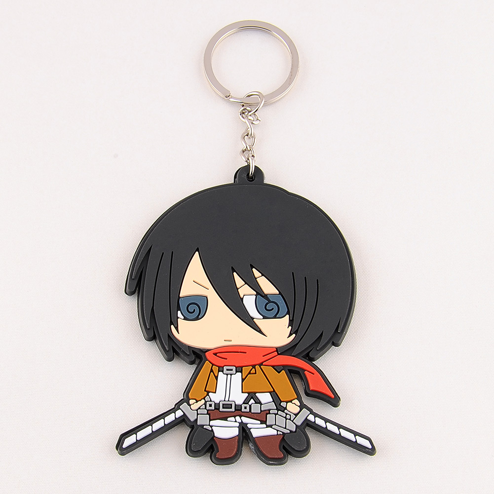 Cute Japanese Anime Shingeki no Kyojin Attack On Titan Silicone Key Ring Chain