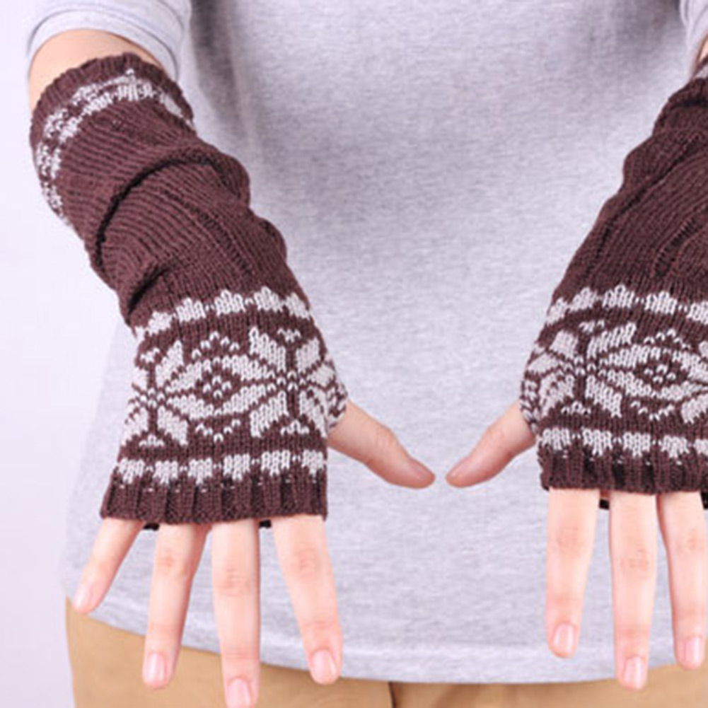 New Snowflake Wrist Leg Arm Warmer Long Knit Fingerless Mitten Gloves Pattern
