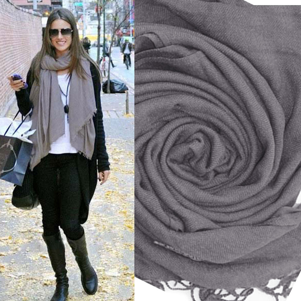 Womens Wrap Scarf Wool Soft Multicolor Warm Scarves Long Large Shawl Tassels