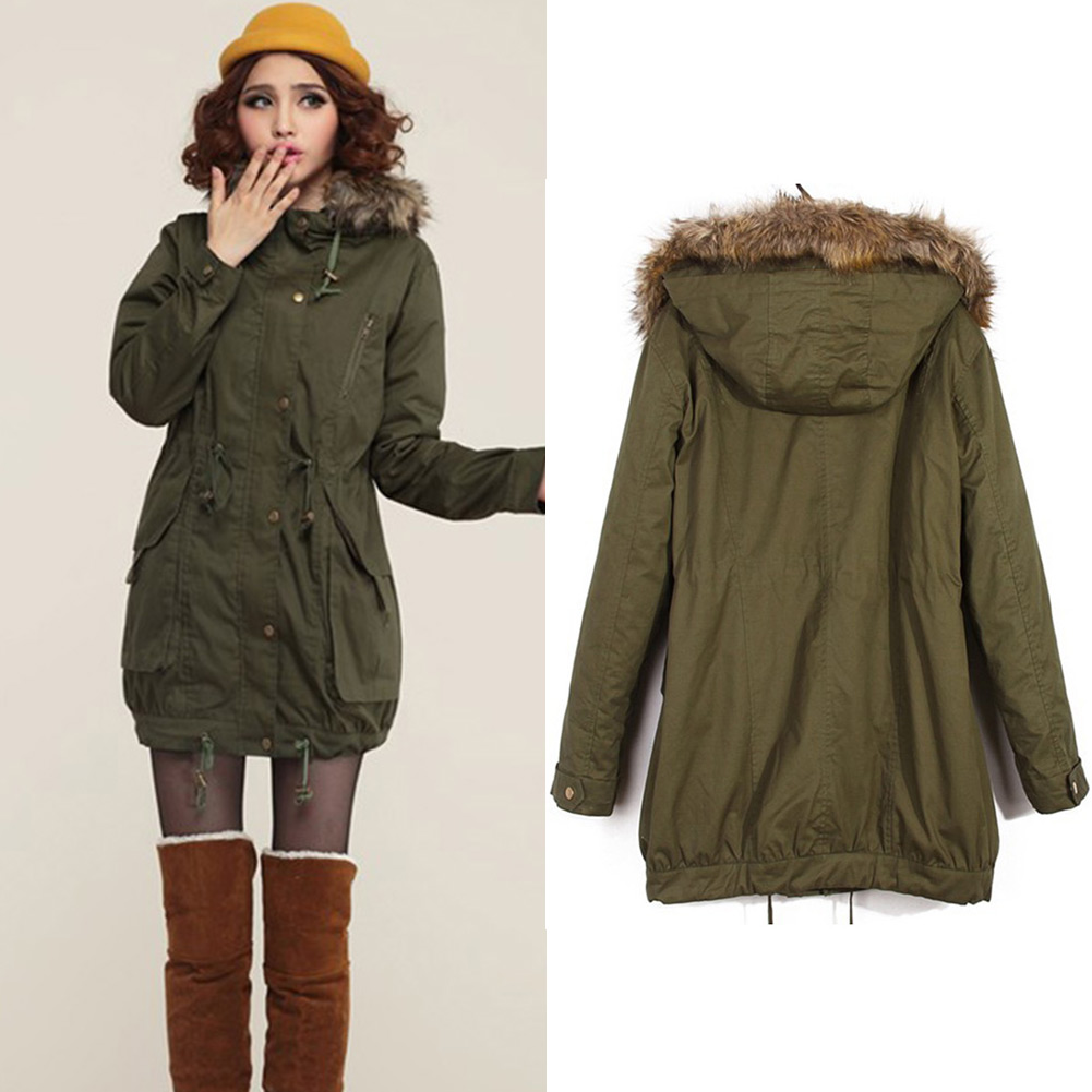 Womens Slimming Ladies Girls Winter Warm Army Coat Fleece ...