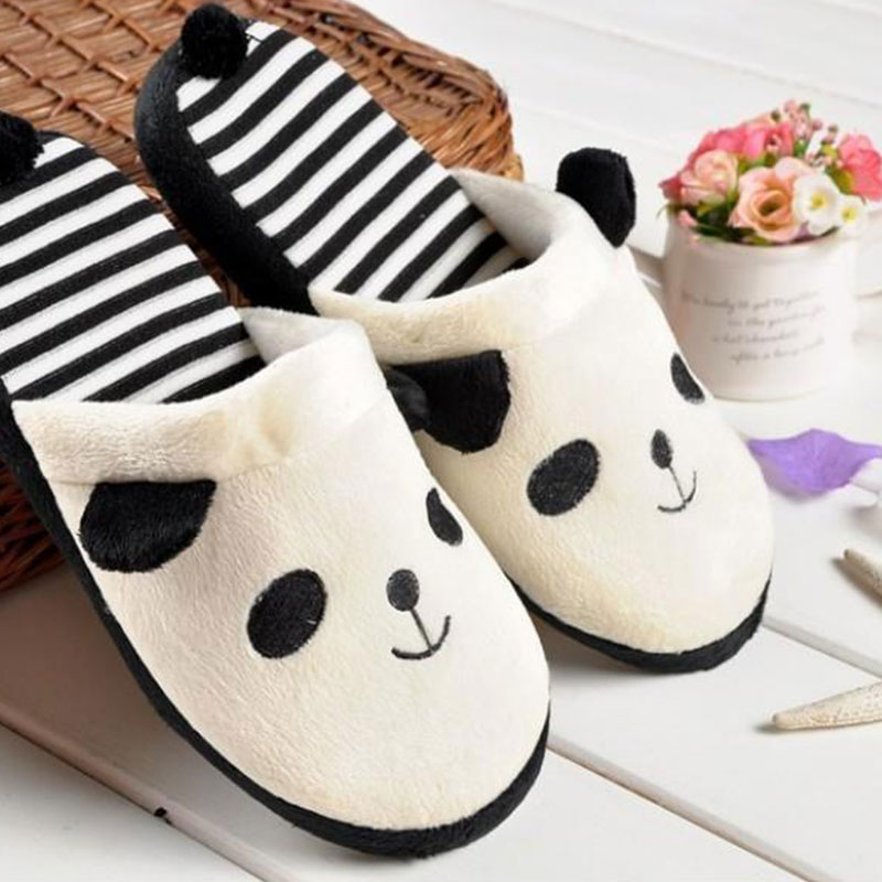 Fluffy Ladies Winter Warm Cute Plush Anti-slip Panda Tail Indoor Women Slippers