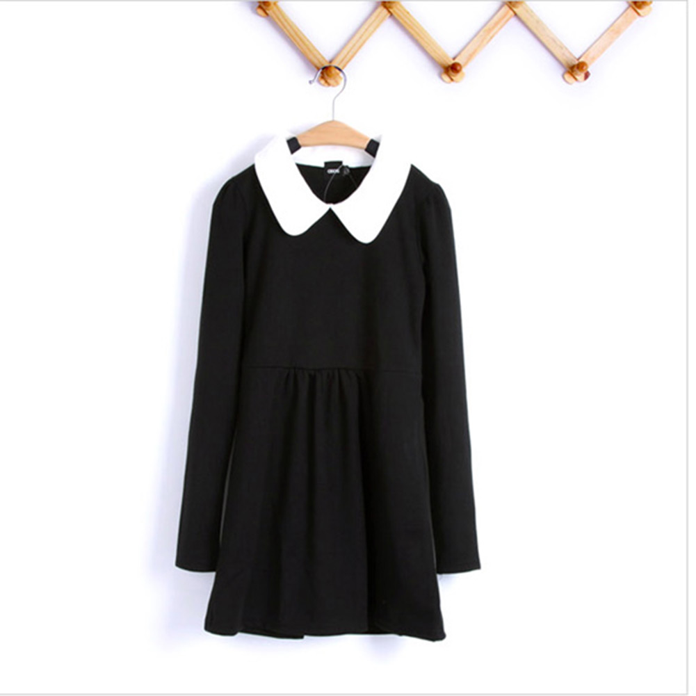 Mini Womens Long Sleeves Pleated Peter Pan Contrast Collar Baby Doll Dress