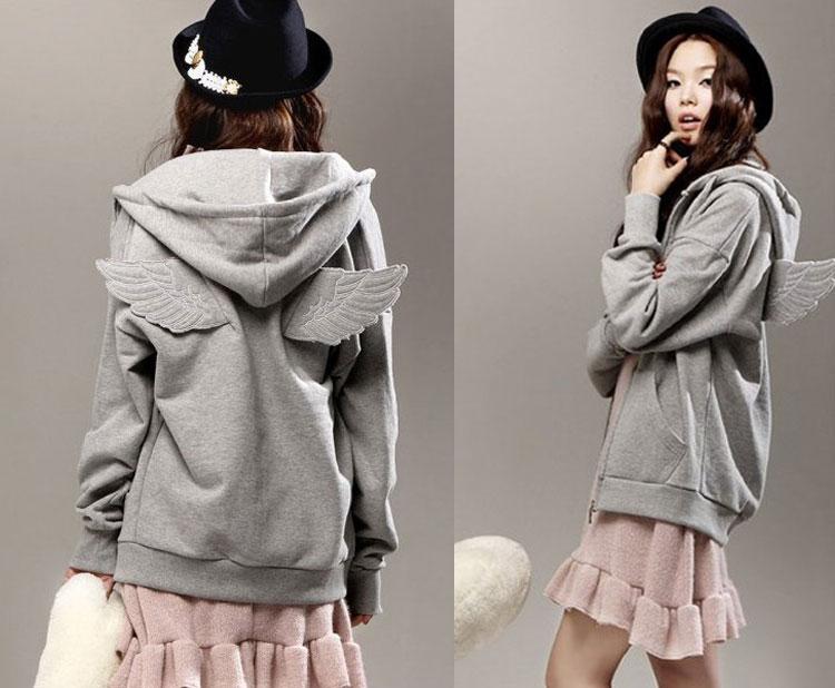 Fashion Womens Girls Angel Wings Hoodie Jacket Hooded Coat Outerwear Tops