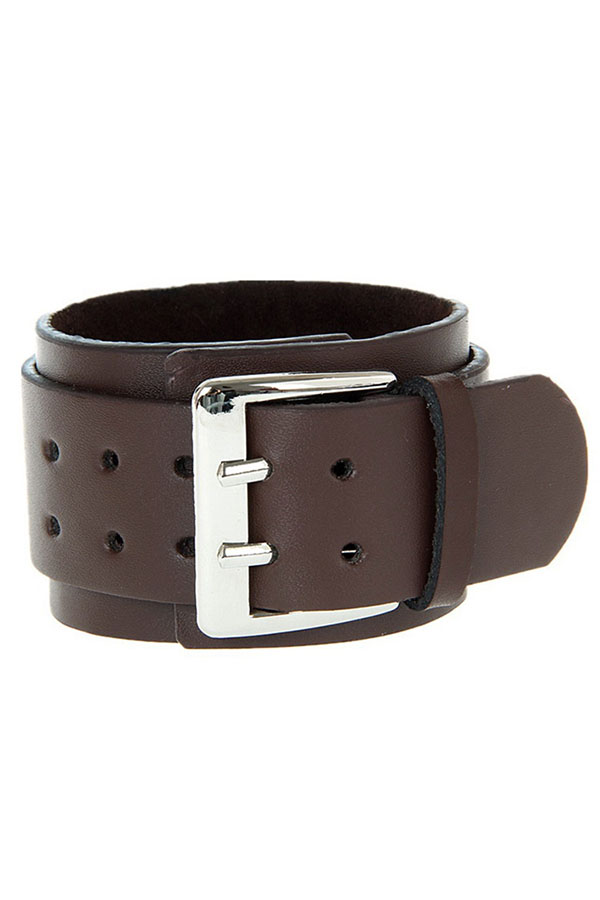 Cool Adjustable 2 Layer Men's Genuine Leather 2 Buckle Wristband Bangle Bracelet