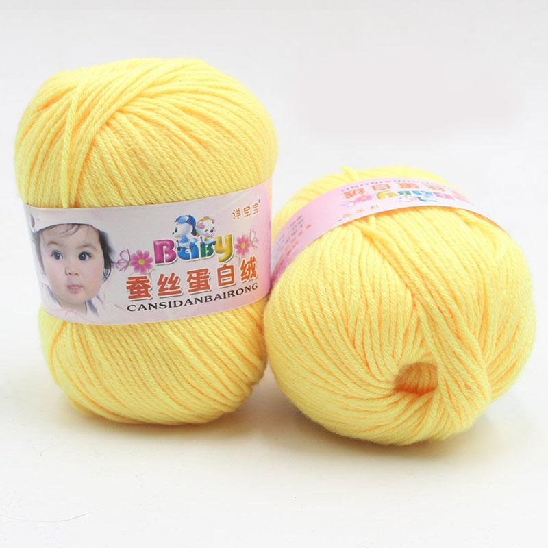 Pure Worsted Smooth Silk Wool Fibe Baby Skein Knitting Woolen Yarn 50g