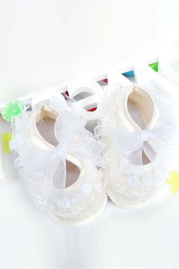 Hot Girl Cute on-Slip Newborn Shoes Baby Toddler Shoes With Beautiful Lace Pink