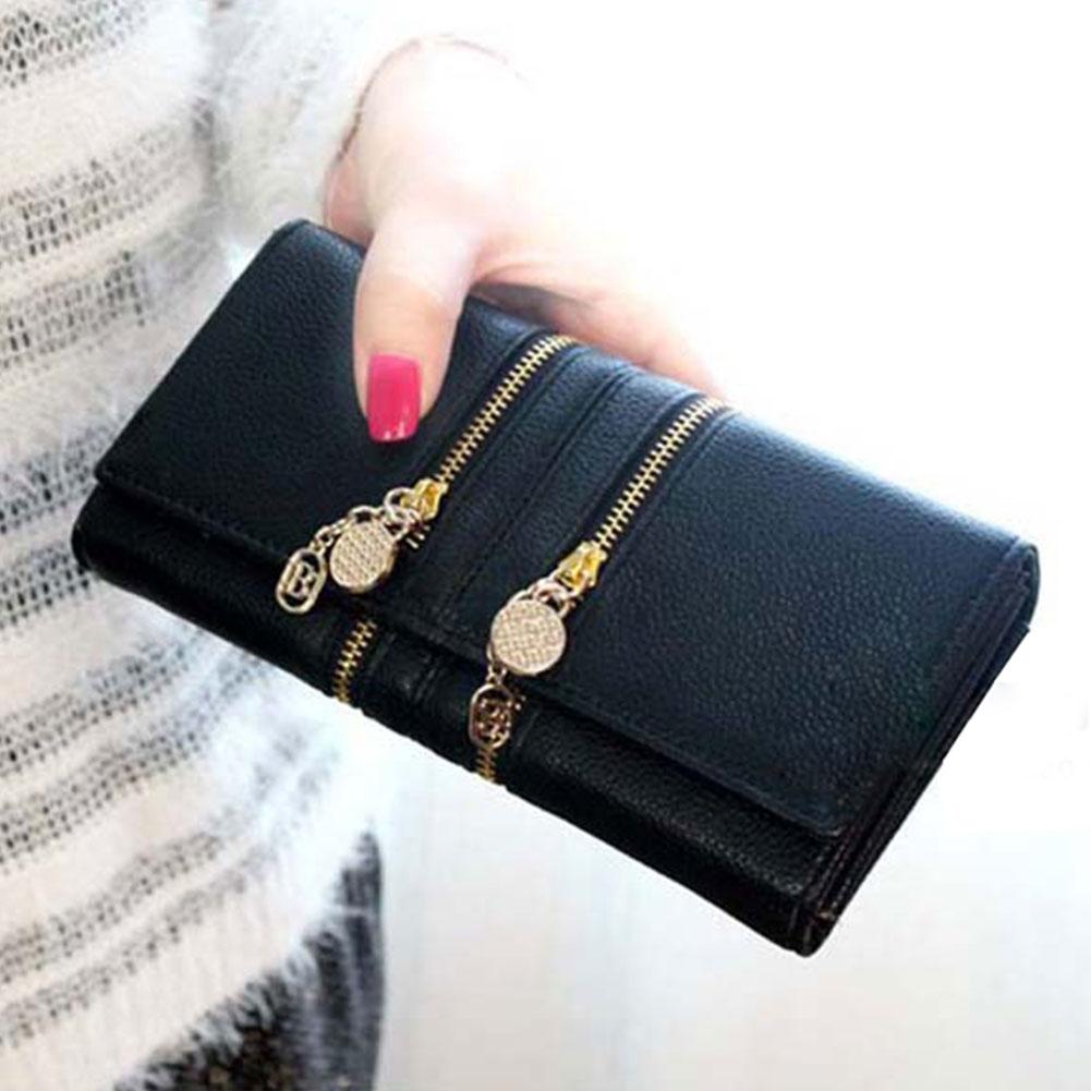Hot Ladies Handy Double Zipper Faux Leather Purse Handbag Wallet Green