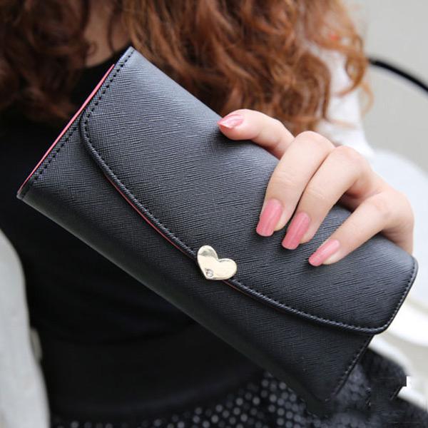 Fashion Women's Faux Leather Clutch Wallet Purse Card Lady Long Handbag Love