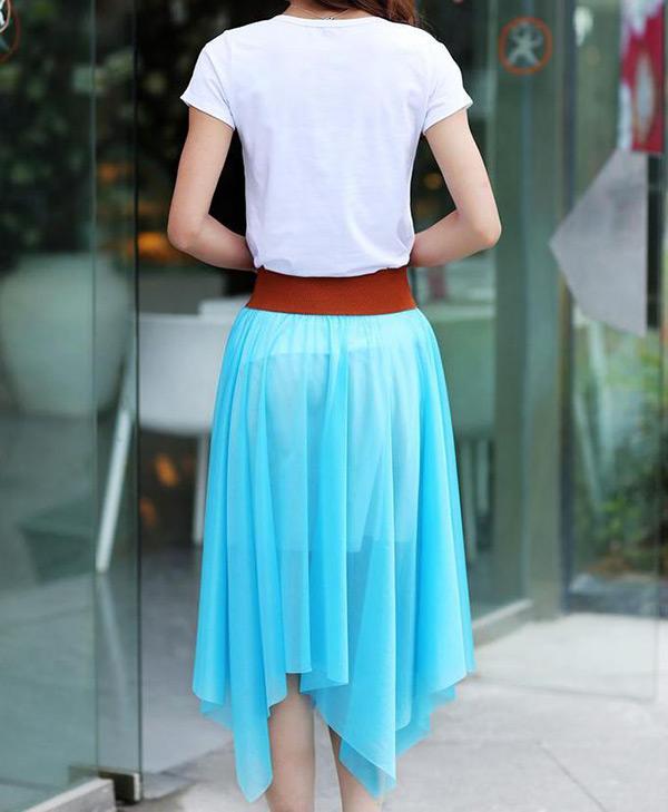 Fashion Women Lady Chiffon Irregular Long Maxi Dress Elastic Belt Skirt