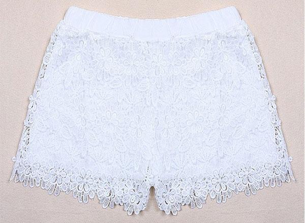 New Fashion Women Lady Elastic Shorts High Waist Flower Lace Short Pants Black