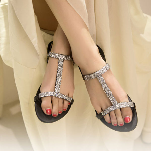 Summer Fashion Women Diamond Flat Shoes Sparkling Thong Lady Sandal Black