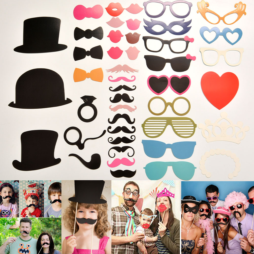 DIY Funny Photo Props Masks On A Stick Wedding Birthday Party Favor Gift