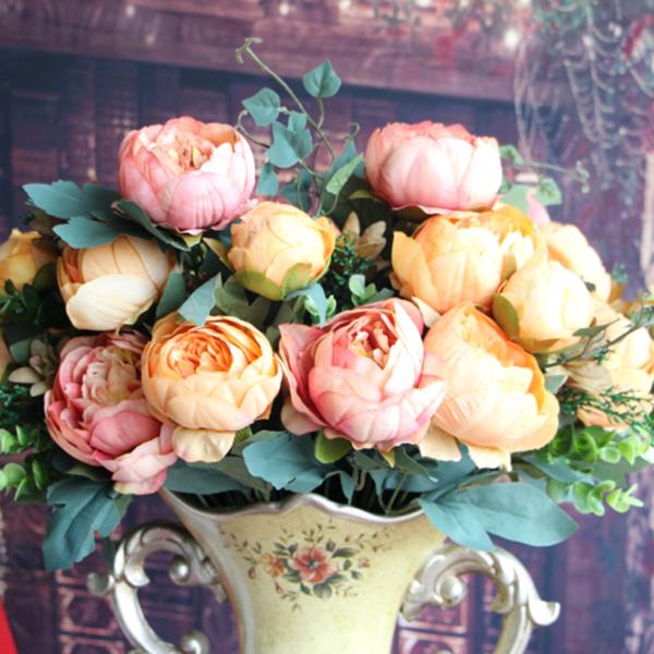 Artificial Peony Silk 12 Heads Flowers Bridal Hydrangea Party Decor DIY