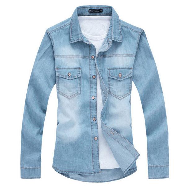 Fashion Mens Casual Denim Shirt Button Long Sleeve Slim Fit Shirts Top