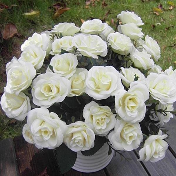 Artificial Rose Silk Flowers 12 Flower Head Floral Wedding Garden Decor NEW