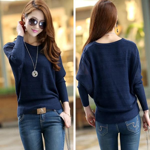 Hot Fashion Batwing Knit Sweater Crew Long Sleeve Hollow Loose Jumper Pullover