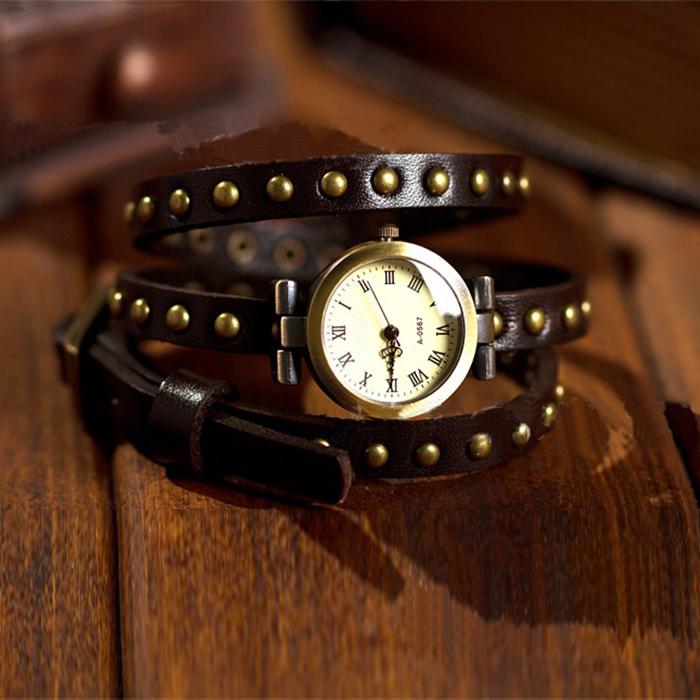Fashion Vintage Girls Lady Women Wrap Rivet Leather Strap Quartz Wrist Watch