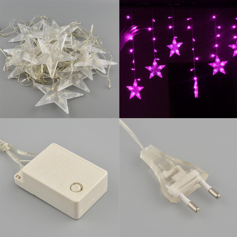 Romantic 3M 120LED Elegent Shining Star Shape Xmas String Light Hotel Curtain