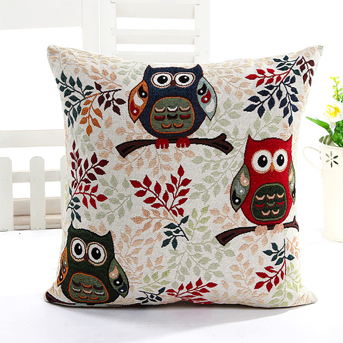 Soft Luxury Owl Square Throw Pillow Cushion Case Cover Home Sofa Bed Decor Gift