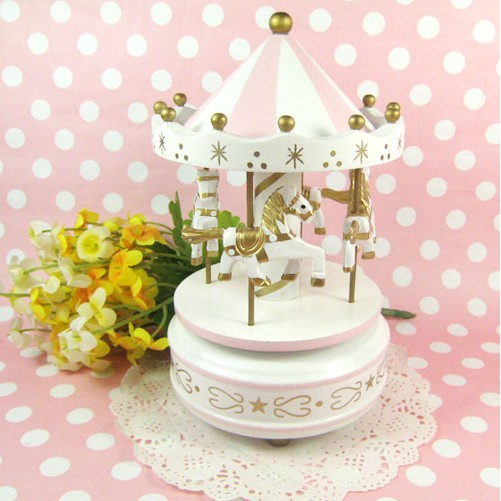 Wooden Merry-Go-Round Carousel Classic Music Box For Kids Children Gift Toy