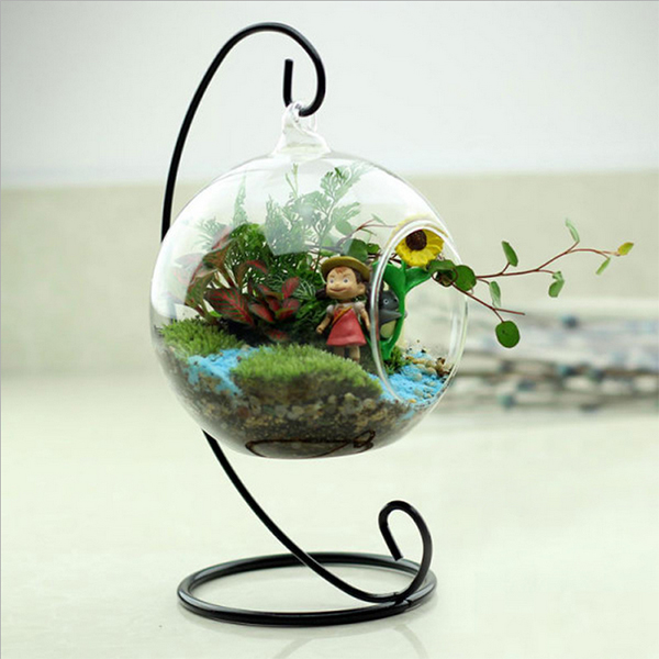 Cute Clear Hole Glass Angel Shape Flower Plant Hanging Vase Container Decor