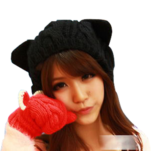 Women Cute Devil Horns Cat Ear Beanie Kitted Warmer Skull Knit Ski Cap Hat