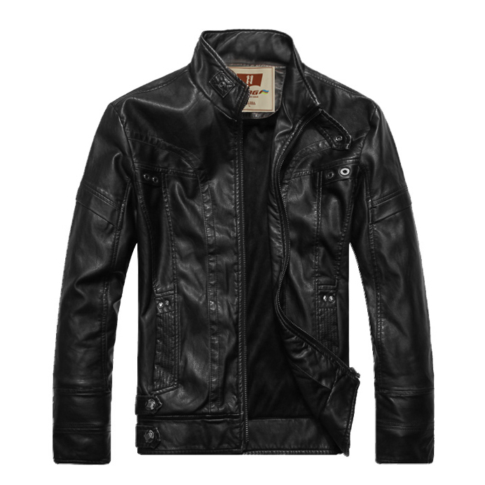 HOt New High Quality Warm Men's Leather Motorcycle Standing Collar Jackets Coat