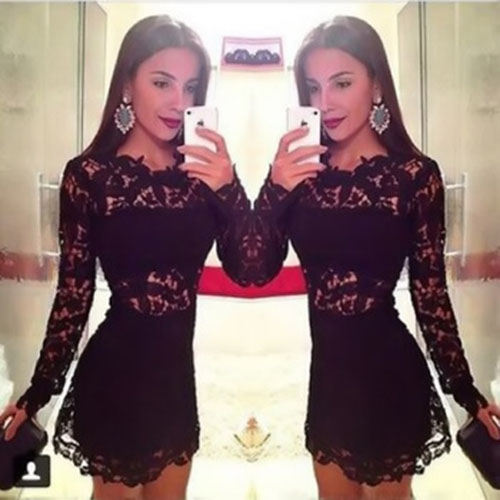 New Women Black Sexy Bodycon Dress Embroidery Party Evening Dress 3Sets