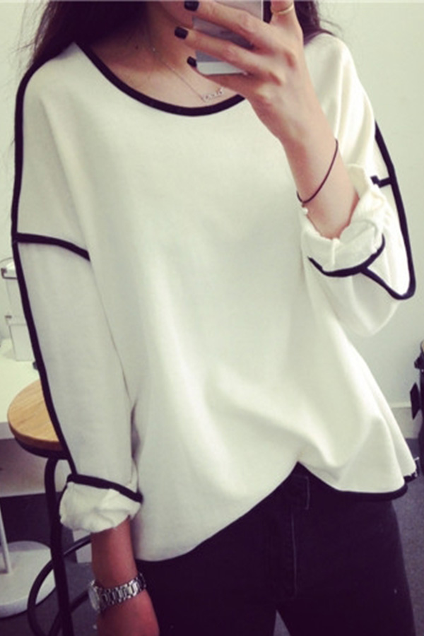Fashion Womens Crew Neck Tops T-shirt Swing OverSize Blouse Jumper Sweater Top