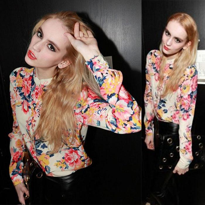 Fashion Women Chiffon Floral Print Oversize Lapel T Shirt Casual Tops Blouse
