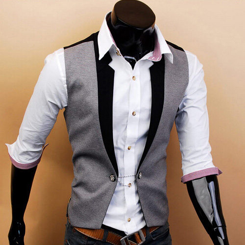 Fashion One Button Men's Casual Fit Vest Contrast Waistcoat Jacket Tops