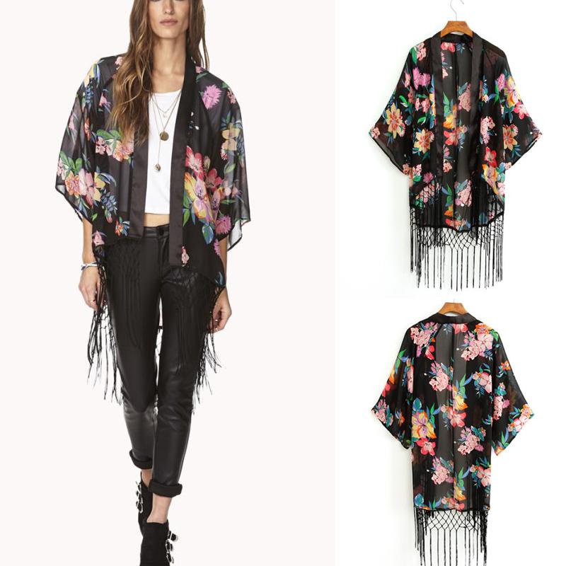 Summer Women Loose Flower kimono Top Casual Sunblock Coat Shirt Jacket Cardigan