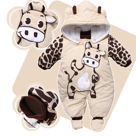 New Newborn One-piece Baby Sets Girl Romper Warm Winter Outwear Outfits Beige