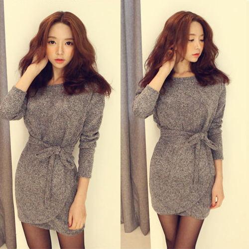 Women Ladies Korean Fashion Fit Bodycon Batwing Waist Mini Casual Dress