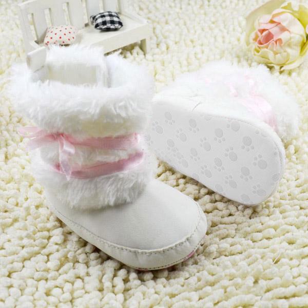 Newborn Baby Infant Girls Bowknot Crib Shoes Warm Fleece Prewalker Boots