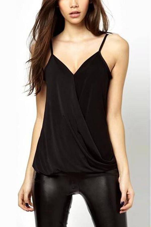 New Women Fold V Neck Pleats Solid Color Top Black Blouse Strap Vest T-Shirt