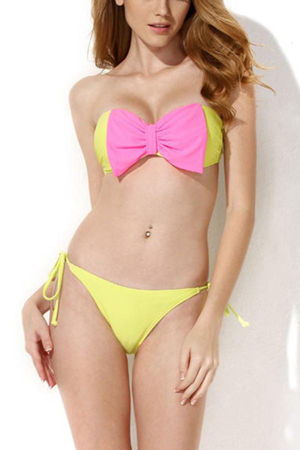 Nexy Women Splicing Bikini Suit Push-up Padded Swimsuit Swimwear Bra Set Summer