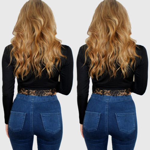 New Fashion Women Lace Bodycon Shirt Long Sleeve Crop Top Sexy Clubwear Tops