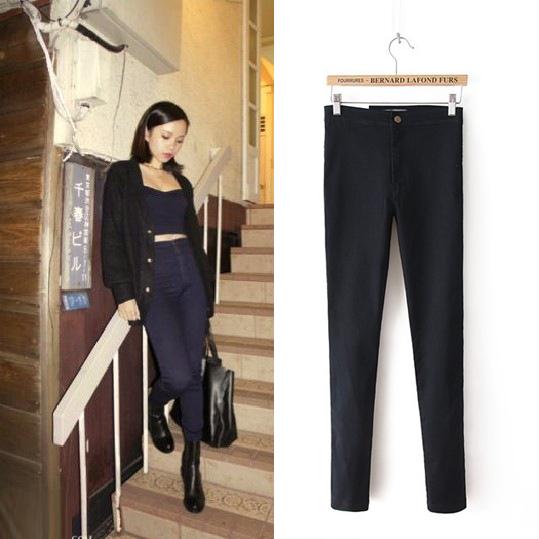 New Women Skinny Sexy Slim Fit High Waist Jeans Elegant Denim Pants Black/Blue