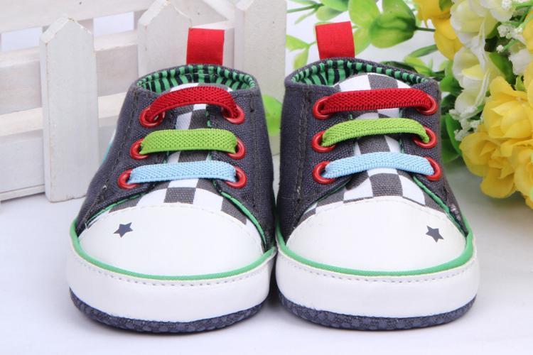 New Fashion Toddler Prewalker Canvas Lace Up Cartoon Cute Sneaker Crib Shoes