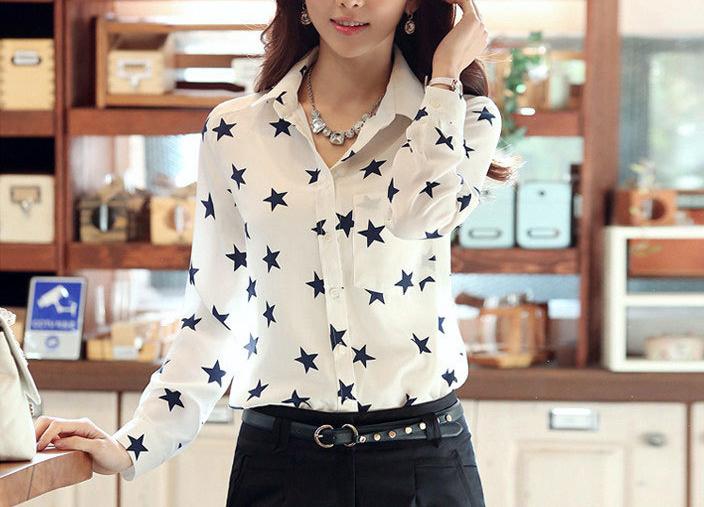 New Women Lady Star Chiffon Button Down Lapel Stand Collar Stylish Shirt Blouse